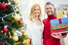 Couple of happy customers Stock Photos