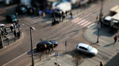 City crossroad tiltshift timelapse in Italy Stock Footage