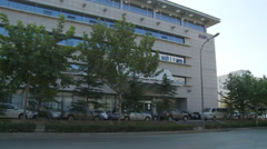 Bus stop, Dalian technology offices, China Stock Footage