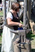 Stock Photo of Renaissance Festival, Koprivnica, Croatia, 2015, female blacksmith.