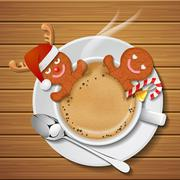 Two gingerbread mans in cup of hot coffee Stock Illustration