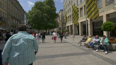 Walking on Neuhauser Strasse in a sunny day, Munich Stock Footage