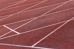 Athletics Stadium Running track curve Stock Photos