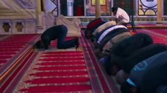 Video of kneeling muslim men filmed in Israel. Stock Footage