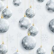 Festive seamless pattern with Christmas balls - stock illustration