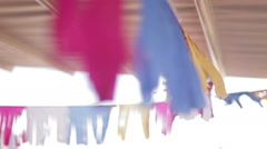 colored ribbon in the wind, element of decor - stock footage