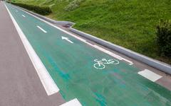 Dedicated bicycle lane, designed to make cycling safer - stock photo