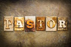 Pastor Concept Letterpress Leather Theme Stock Illustration