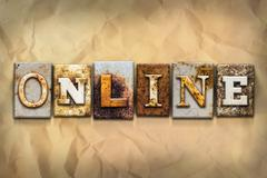 Online Concept Rusted Metal Type - stock illustration