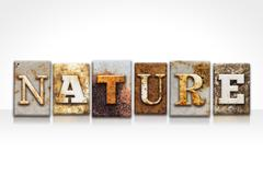 Nature Letterpress Concept Isolated on White - stock illustration