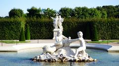 Sculpture in the pond of Belvedere Palace - stock photo