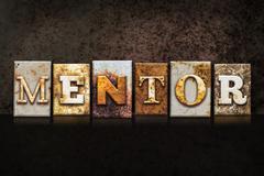 Mentor Letterpress Concept on Dark Background Stock Illustration