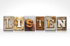Listen Letterpress Concept Isolated on White Stock Illustration