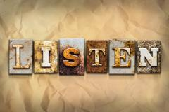 Stock Illustration of Listen Concept Rusted Metal Type