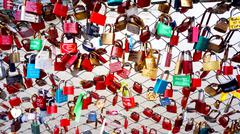 colorful Key lock the railing on the bridge - stock photo