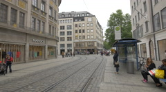 People walking on Theatinerstrasse, Munich Stock Footage