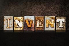 Invent Letterpress Concept on Dark Background Stock Illustration