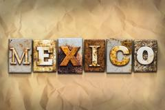 Mexico Concept Rusted Metal Type - stock illustration