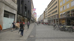Walking on Perusastrasse, Munich Stock Footage