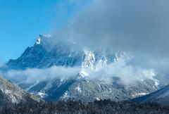 Winter mountain landscape (Austria, Fernpass, Tiroler Alpen) - stock photo