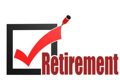 Check mark with retirement word - stock illustration