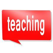 Teaching word on red speech bubble - stock illustration