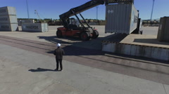 Aerial Shot of Container Handler Stock Footage