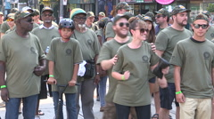 Toronto labor day parade as thousands of workers protest for labour unions - stock footage