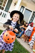 Halloween: Girl Ready to Trick or Treat - stock photo