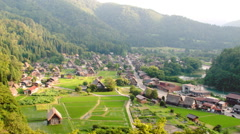 Shirakawa Darkness Falls Over Valley Time Lapse Stock Footage