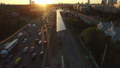 Moscow Ring Road traffic jams aerial at sunset - stock footage