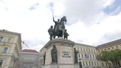 Ludwig I Koenig von Bayern statue, Munich Stock Footage
