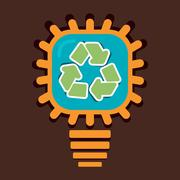 Recycle symbol in bulb vector Stock Illustration