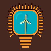 wind mill in bulb concept vector - stock illustration