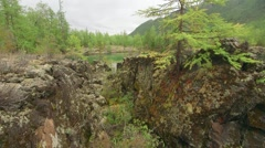 Lake on lava valley. Stock Footage