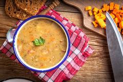 Split pea soup. - stock photo