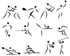 summer sport icon set - stock illustration