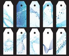 Water bookmarks set Stock Illustration