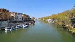 Tiber river in Rome, Italy - stock photo