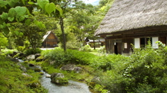 Shirakawa Gassho House Dolly In at Creek Stock Footage