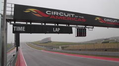 Formula race car crosses the finish line at Circuit of the Americas Stock Footage
