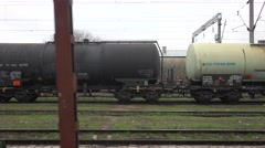 4K POV Point of view freight train depart station carriage system cistern trip  Stock Footage