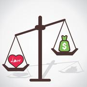 Love is more powerful than money vector Stock Illustration