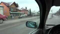 4K POV Point of view car drive urban city rural town cloudy daytime cold weather - stock footage