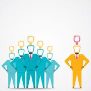 Leader and his team with new idea vector Stock Illustration