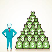 Stock Illustration of man with lots of money vector