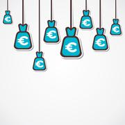 euro currency bag background vector - stock illustration
