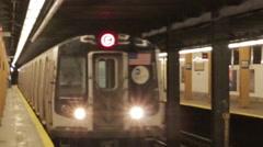 Subway Train Arriving, New York City, NYC MTA - stock footage