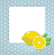 Universal page layout with lemon icon, recipe or daily special card template Stock Illustration