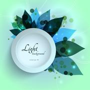 Magical glowing green leaves floral template Stock Illustration